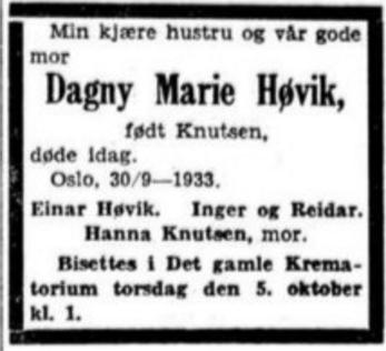Dagny Høvik - Aftenposten5. oktober 1933.png