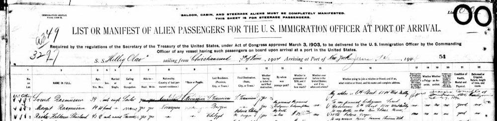 Margit Rasmussen emigrasjon 1904.jpg