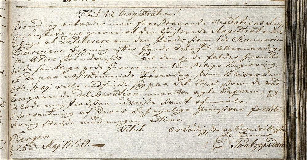Bergens Magistrat Brev fra Pontoppidan 1750.jpg
