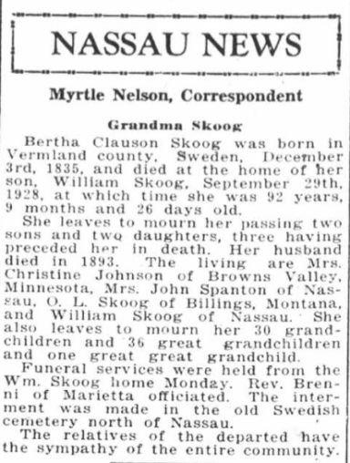 Obituary for Grandma Skoog from the Madison, Minnesota newspaper of Friday, October 12, 1928.jpg